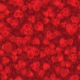 Nahtloses Muster von Herzen, mit der Spirale innerhalb der Konturen Lizenzfreies Stockfoto