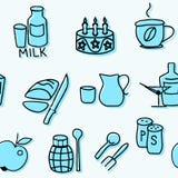 Nahtloses Muster von Kücheneinzelteilen im Blau Auch im corel abgehobenen Betrag Stockfotografie