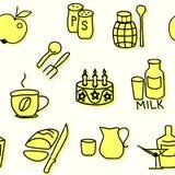 Nahtloses Muster von Kücheneinzelteilen im Gelb Auch im corel abgehobenen Betrag Stockfotos