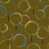 Nahtloses Muster von Konturen von Kreisen, Bäume auf einem braunen Hintergrund Vektor lizenzfreie abbildung