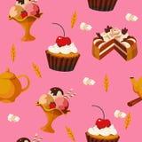 Nahtloses Muster von Kuchen und von Nachtischen Lizenzfreie Stockfotos