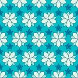 Nahtloses Muster von linearen Blumen, gefärbt Stockfotografie