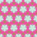Nahtloses Muster von linearen Blumen, gefärbt Stockfotos