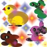 Nahtloses Muster von lokalisierten Farbelementen auf weißem Hintergrund Gelbes stilisiertes Huhn und drei fantastische abstrakte  lizenzfreie stockfotos