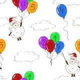 Nahtloses Muster von lustigen Schafen des neuen Jahres Stockfoto