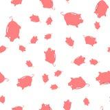 Nahtloses Muster von Münzen und von Sparschweinen vektor abbildung