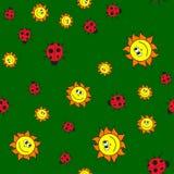 Nahtloses Muster von Marienk?fern und von Sonnen herein in der Karikaturart stock abbildung