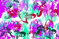 Nahtloses Muster von mehrfarbigen abstrakten Blumen und von Blättern lizenzfreie abbildung