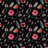 Nahtloses Muster von Mohnblumen auf Schwarzem stock abbildung