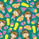 Nahtloses Muster von netten Mädchen- und Sommerelementen stockbilder