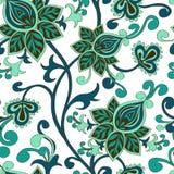 Nahtloses Muster von Paisley-Blumenverzierung stock abbildung