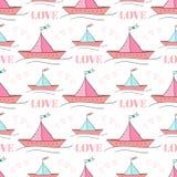 Nahtloses Muster von Papierbooten Vektorillustration für Kindertextildesign Wiederholen von Beschaffenheit des netten Schiffs lizenzfreie abbildung