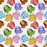 Nahtloses Muster von Plüschtieren, Ginghamhunde Lizenzfreie Stockbilder