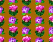 Nahtloses Muster von polygonalen stilisierten Blumen mit Blättern Stockfotografie