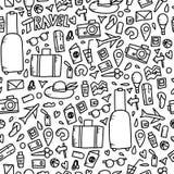 Nahtloses Muster von Reisesymbolen im Vektor stock abbildung
