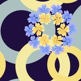 Nahtloses Muster von Ringen und von Blumen in den Pastellfarben auf einem dunklen Hintergrund stock abbildung