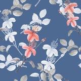 Nahtloses Muster von rosa Blumen und von grauen Niederlassungen auf einem blauen Hintergrund watercolor Stockfotografie