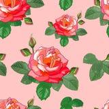 Nahtloses Muster von Rosen und von Blättern Stockfoto