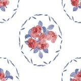 Nahtloses Muster von roten Blumen und von Blau verlässt in einem ovalen Rahmen auf einem weißen Hintergrund watercolor Stockfotografie
