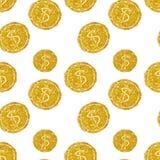 Nahtloses Muster von runden Münzen mit Dollarzeichen des goldenen Funkelns Stockbilder