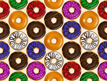 Nahtloses Muster von Schaumgummiringen Donutmustervektor Stockfoto