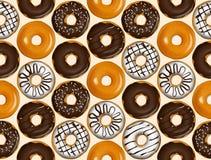 Nahtloses Muster von Schaumgummiringen Donutmustervektor Lizenzfreie Stockbilder