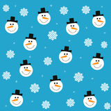 Nahtloses Muster von Schneemännern und von Schneeflocken Vector Weihnachts- und des neuen Jahreshintergrund für den Druck Stockfotografie