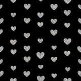 Nahtloses Muster von silbernen Herzen Stockfoto
