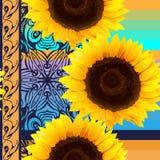 Nahtloses Muster von Sonnenblumen mit Vertikale Lizenzfreie Stockbilder