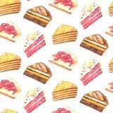Nahtloses Muster von Stücken des Kuchens Hand gezeichneter Aquarellbleistift Stockbild