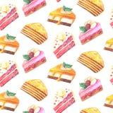 Nahtloses Muster von Stücken des Kuchens Hand gezeichneter Aquarellbleistift Lizenzfreie Stockbilder