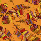 Nahtloses Muster von Stammes- Vogelfedern stock abbildung