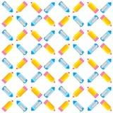 Nahtloses Muster von Stiften und von Bleistiften Lizenzfreie Stockfotos