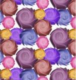 Nahtloses Muster von stilisierten purpurroten und gelben Rosen lizenzfreie abbildung