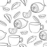 Nahtloses Muster von tadellosen Blättern, von Zitronen und von Schalen stock abbildung