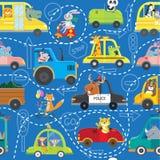 Nahtloses Muster von Tieren in den Fahrzeugen lizenzfreie abbildung