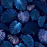 Nahtloses Muster von tropischen Blättern Stockfotografie