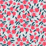 Nahtloses Muster von tropischen Blumen und von Blättern auf einem weißen Hintergrund Vektorillustration in der Hand flach gezeich vektor abbildung