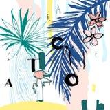 Nahtloses Muster von tropischen Vögeln, von Palmen, von Blumen und von Buchstaben Grungy Tintenart Künstlerisches kreatives Unive lizenzfreie abbildung