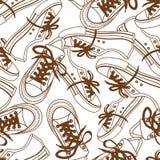Nahtloses Muster von Turnschuhen Stockfotos