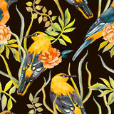 Nahtloses Muster von Vögeln und von Anlagen Vektor Blätter Stockfoto