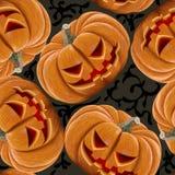 Nahtloses Muster von verärgerten Kürbisen Halloween Lizenzfreie Stockbilder