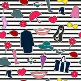 Nahtloses Muster von verschiedenen Modeeinzelteilen Stockfoto