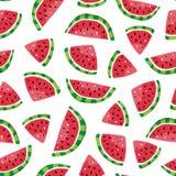 Nahtloses Muster von Wassermelonenscheiben in der Hand gezeichneten Art Lizenzfreie Stockbilder
