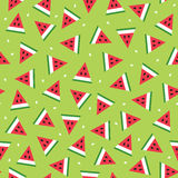 Nahtloses Muster von Wassermelonenscheiben im geometrischen Stil Stockfotos