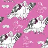 Nahtloses Muster von Weiß Tauben auf Rosa küssend Stockfotos