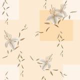 Nahtloses Muster von wilden beige Blumen und von Niederlassungen auf einem hellen beige Hintergrund mit geometrischen Zahlen wate Lizenzfreies Stockfoto
