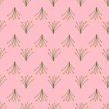 Nahtloses Muster von wilden Blumensträußen auf einem rosa Hintergrund lizenzfreie abbildung