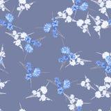Nahtloses Muster von wilden kleinen weißen und blauen Blumen und von Blumensträußen auf einem dunkelgrauen Hintergrund watercolor Stockbilder