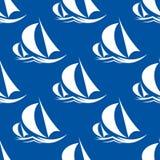 Nahtloses Muster von Yachten und von Segelschiff stock abbildung